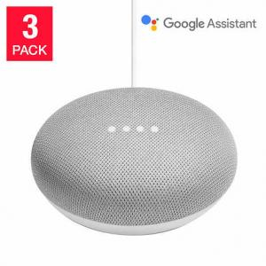 Google Home Mini Smart Speaker Powered by Google Assistant, Chalk, 3-pack