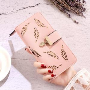 New Women Wallet Purse Female Long Gold Hollow Leaves Wallets Women Pouch Handbag For Women 2019 Purse Card Holders